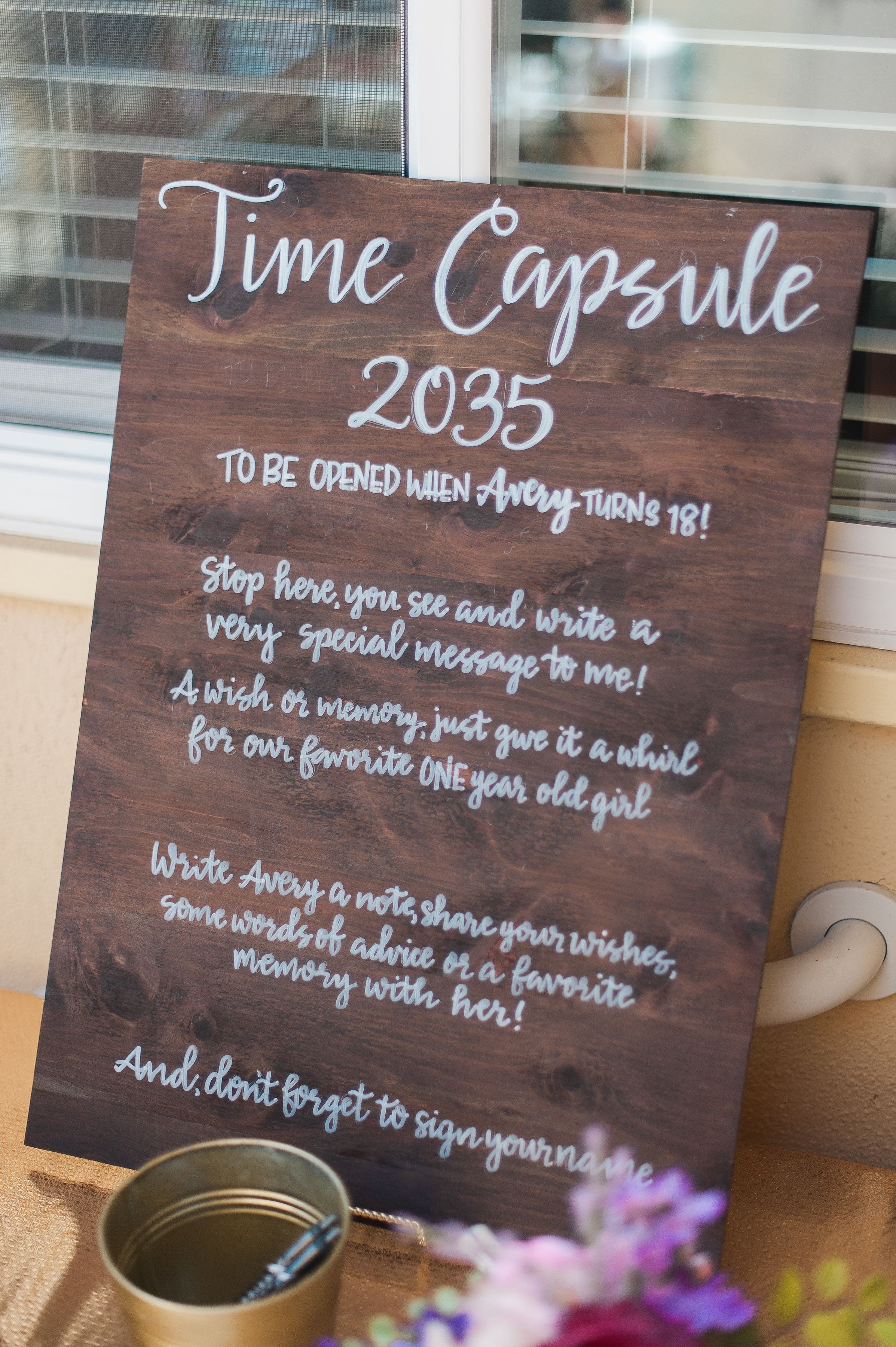 Avery's ONEderful Garden Party Time Capsule Sign Baby