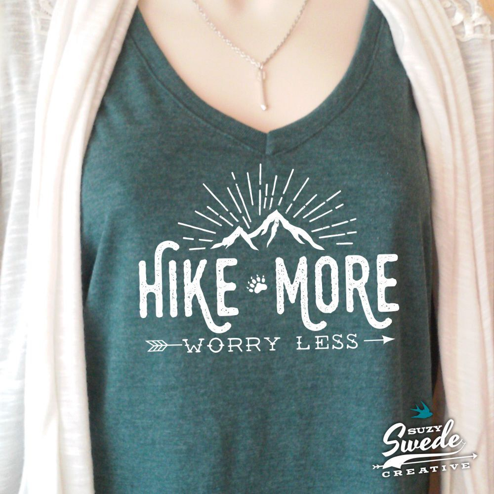 eab2b36f3c2fe Hiking Shirt ~ Hike More Worry Less Ladies  V-Neck T-Shirt-