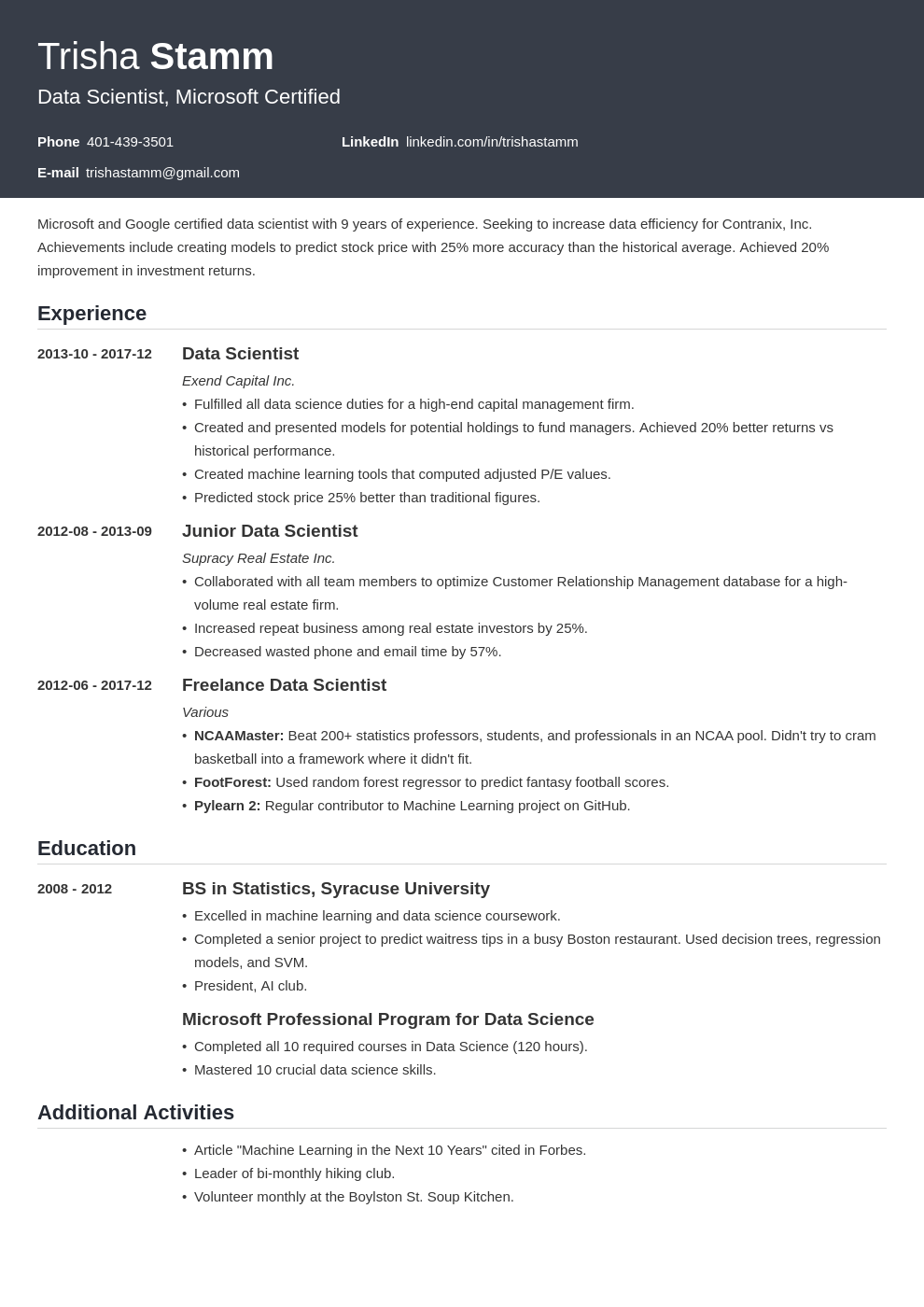 Data Scientist Resume Example Template Influx Resume Examples Data Scientist Job Resume Examples