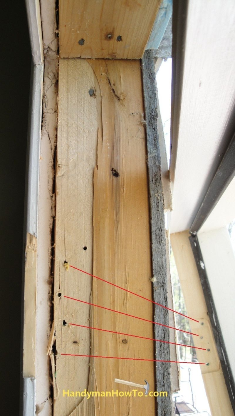Exterior door top hinge screw holes and 2x4 stud door