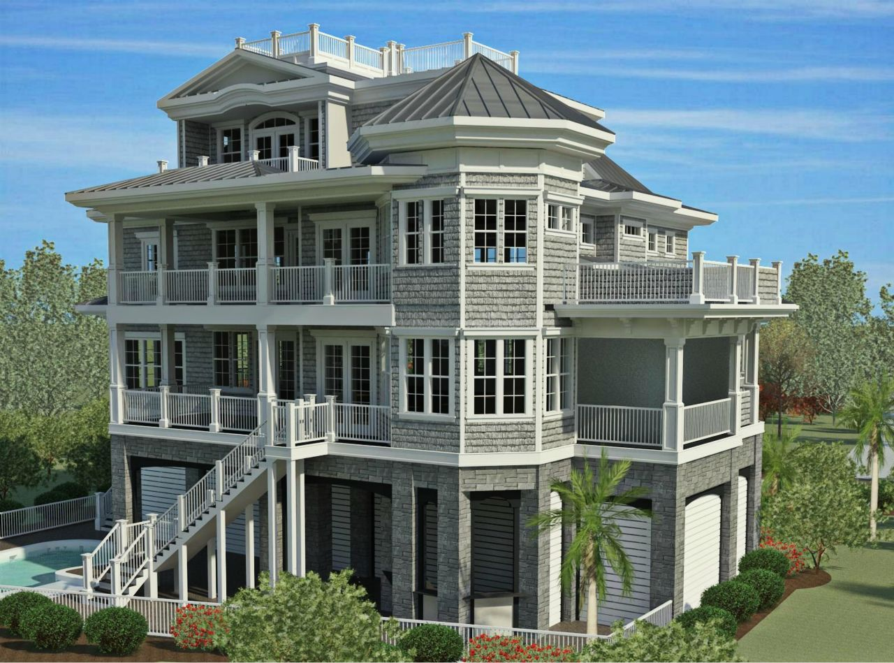 CRG Home Design rear view of home we are building oceanfront in