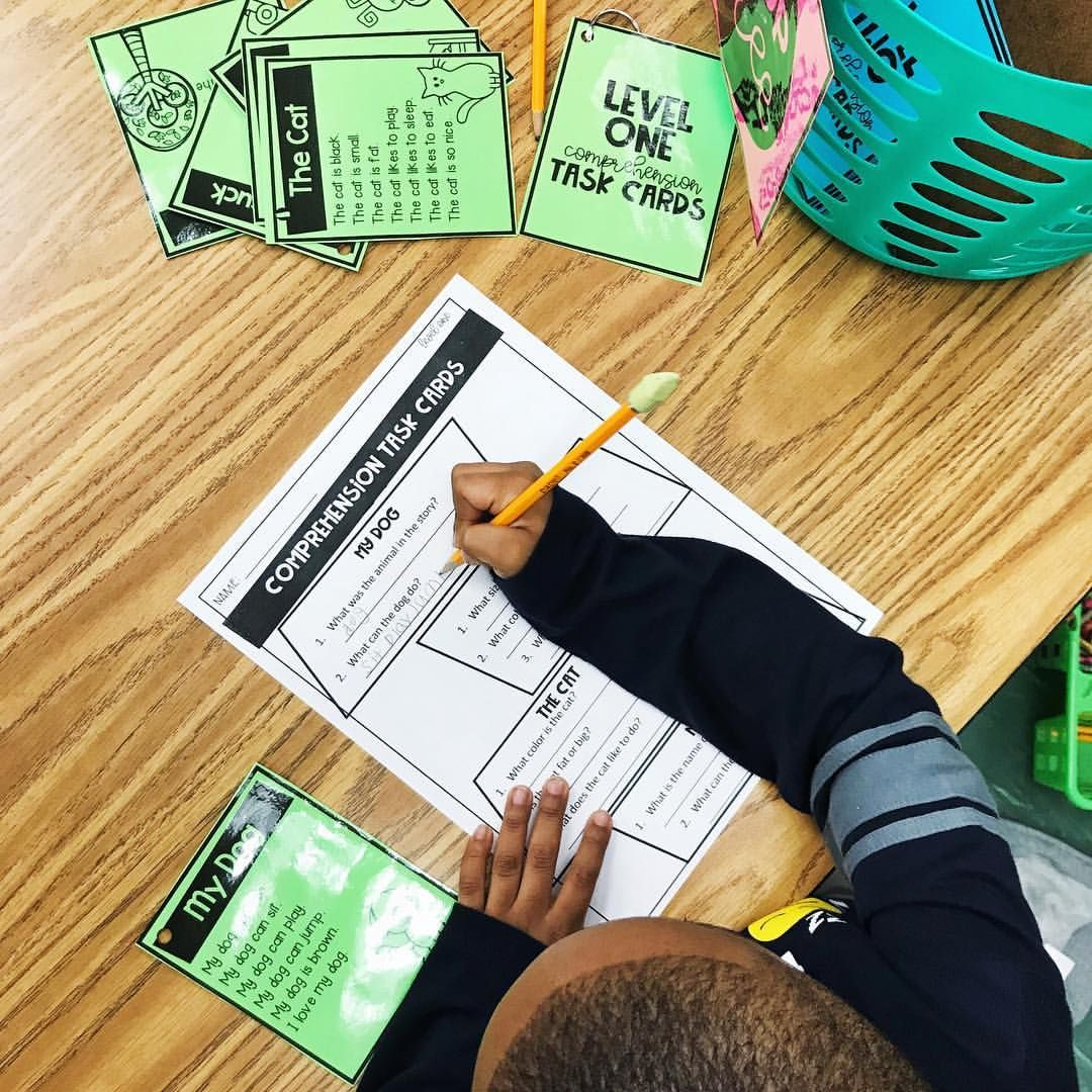 First Grade Leveled Comprehension Task Cards In My Spiral