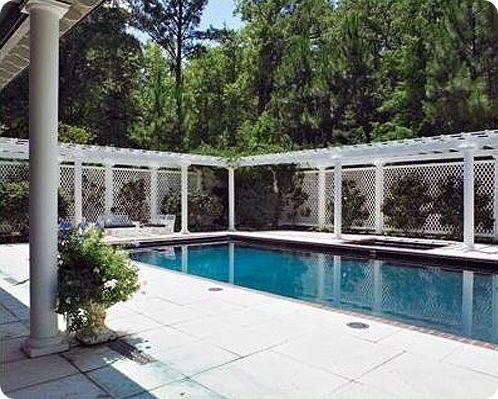 Pergola And Lattice Pool Fence Design Pool Gazebo Vinyl