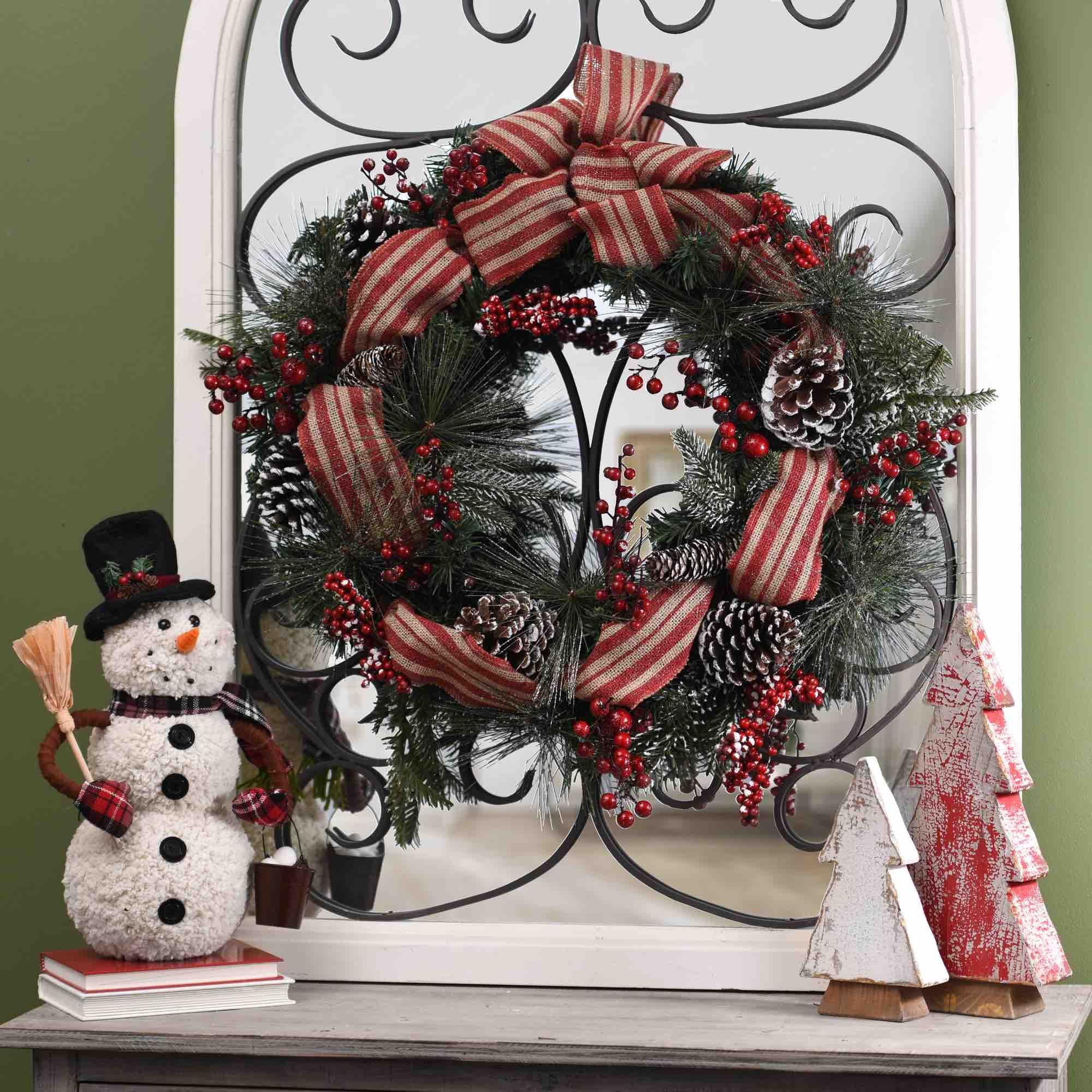 Pine Red Berry Wreath   Red berry wreath, Berry wreath and Christmas ...