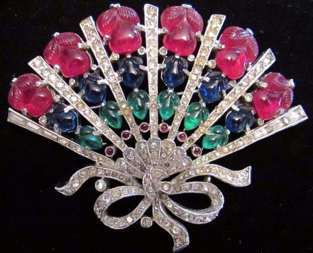 Vintage Trifari Rhinestone Brooch Pin Fruit Salad Fan Figural Rhinestone Glass Fan Jewelry Vintage Costume Jewelry Antique Costume Jewelry