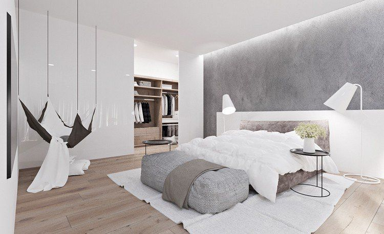chambre contemporaine avec peinture grise lit bas design hamac suspendu et lampadaires blanc neige - Lit Bas