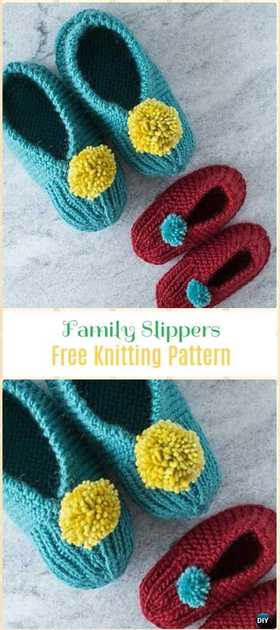 Knit Family Slippers Free Pattern - Knit Adult Slippers Free ...