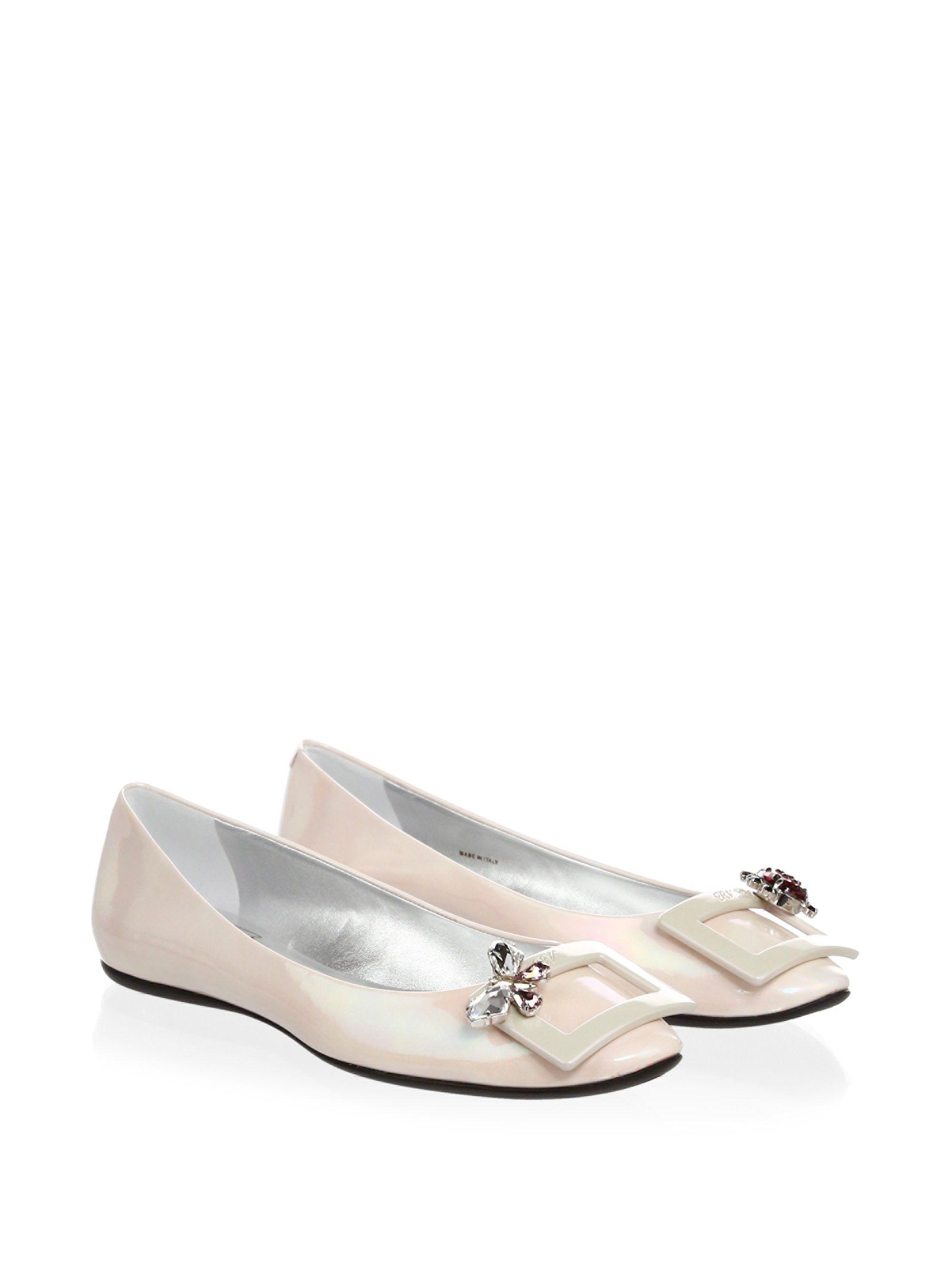 346051e9e18f Roger Vivier Gommette Patent Leather Ballerina Flats - Light Pink 37.5  (7.5)  RogerVivier