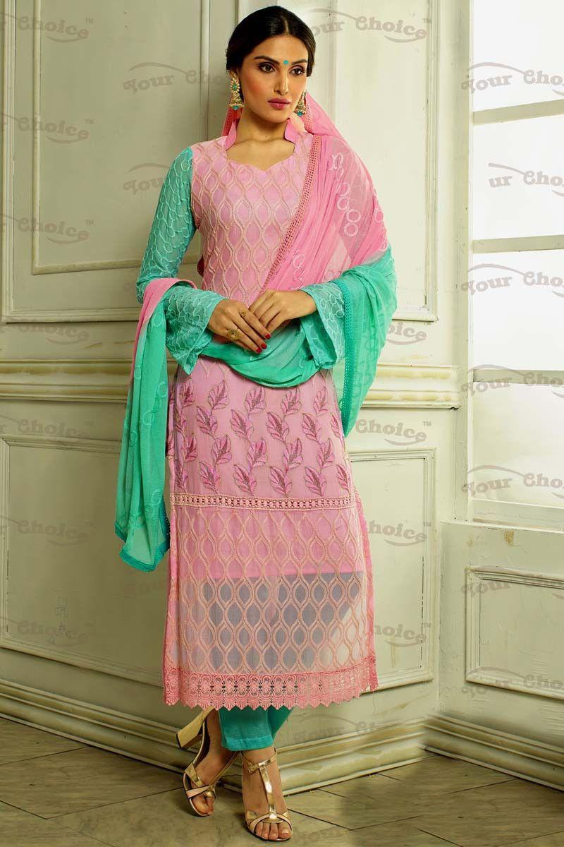 Pink Chiffon Designer Suit