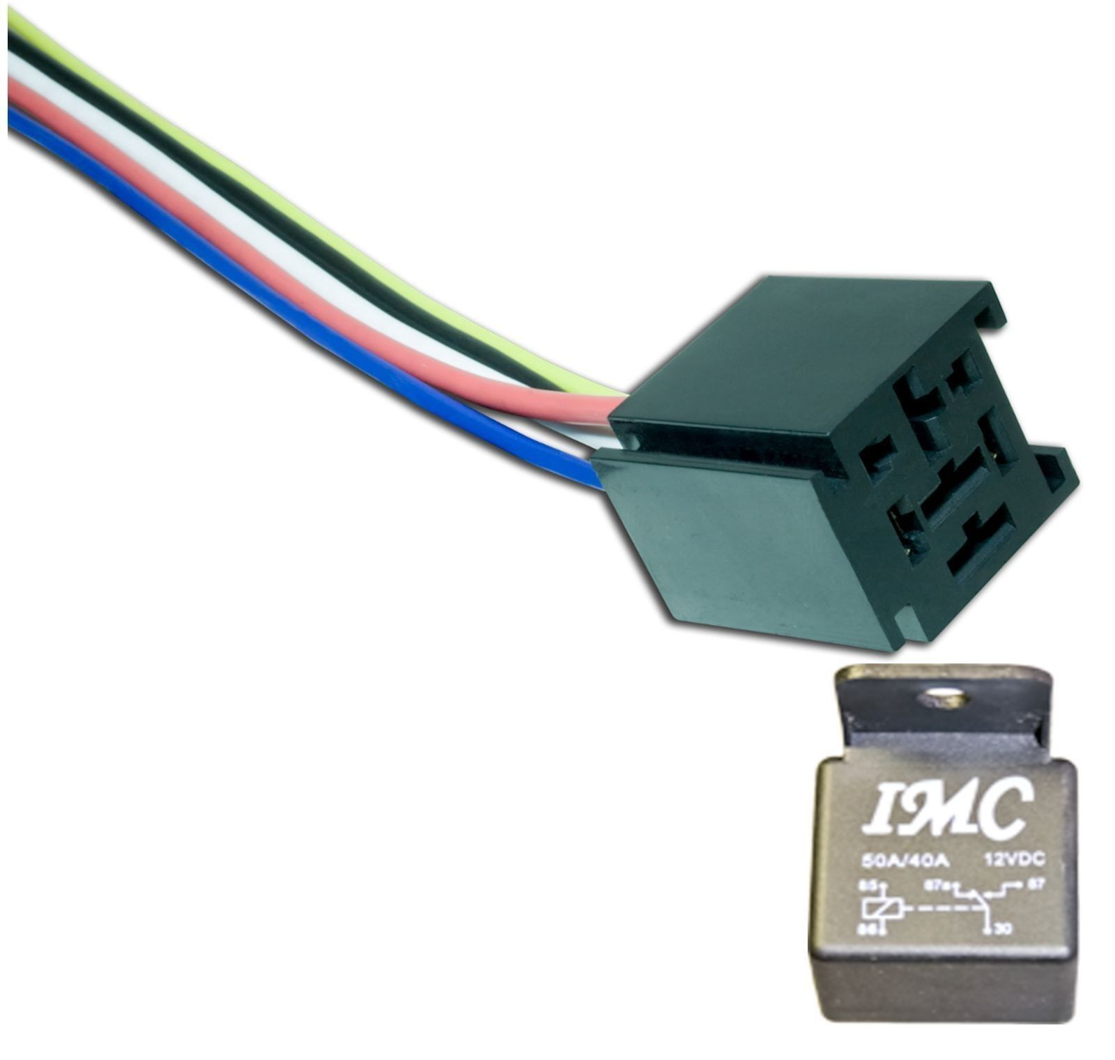 544 1 Each 50 40 Amp 12v Bosch Style Relay With Spdt Wire Socket Harness