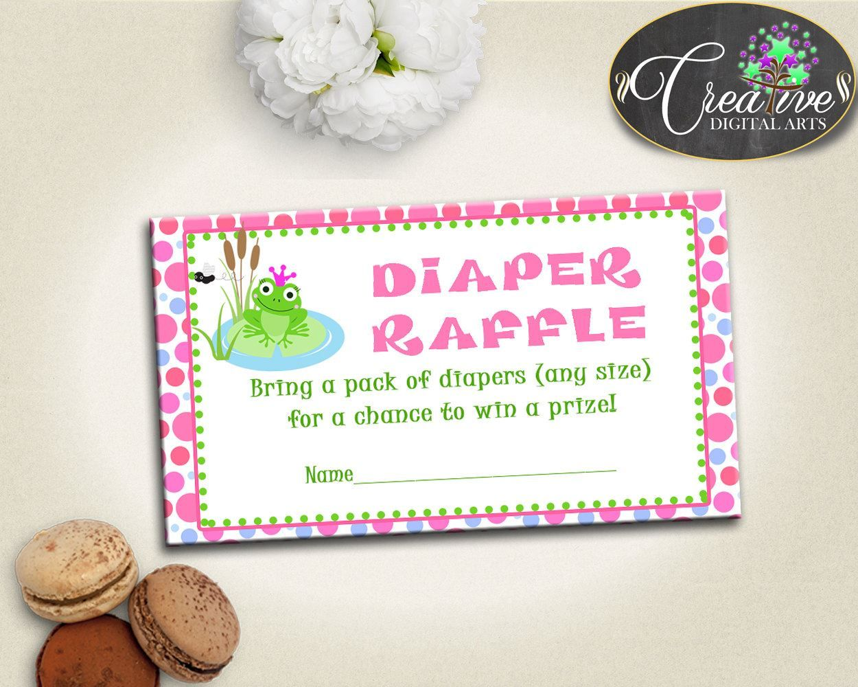 green and pink baby prince charming bring diapers ticket printable
