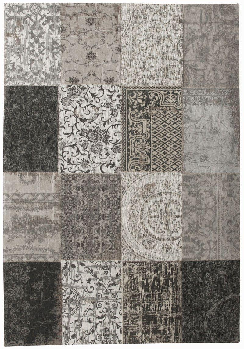 Vintage Teppich Patchwork Grau Hellgrau Schurwolle Wolle Nice Look