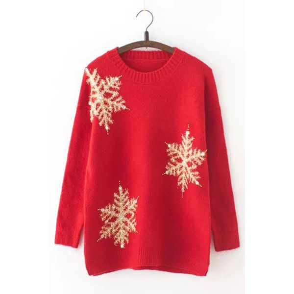 Womens Loose Sequined Beaded Pearl Knit Christmas Sweater Red (46