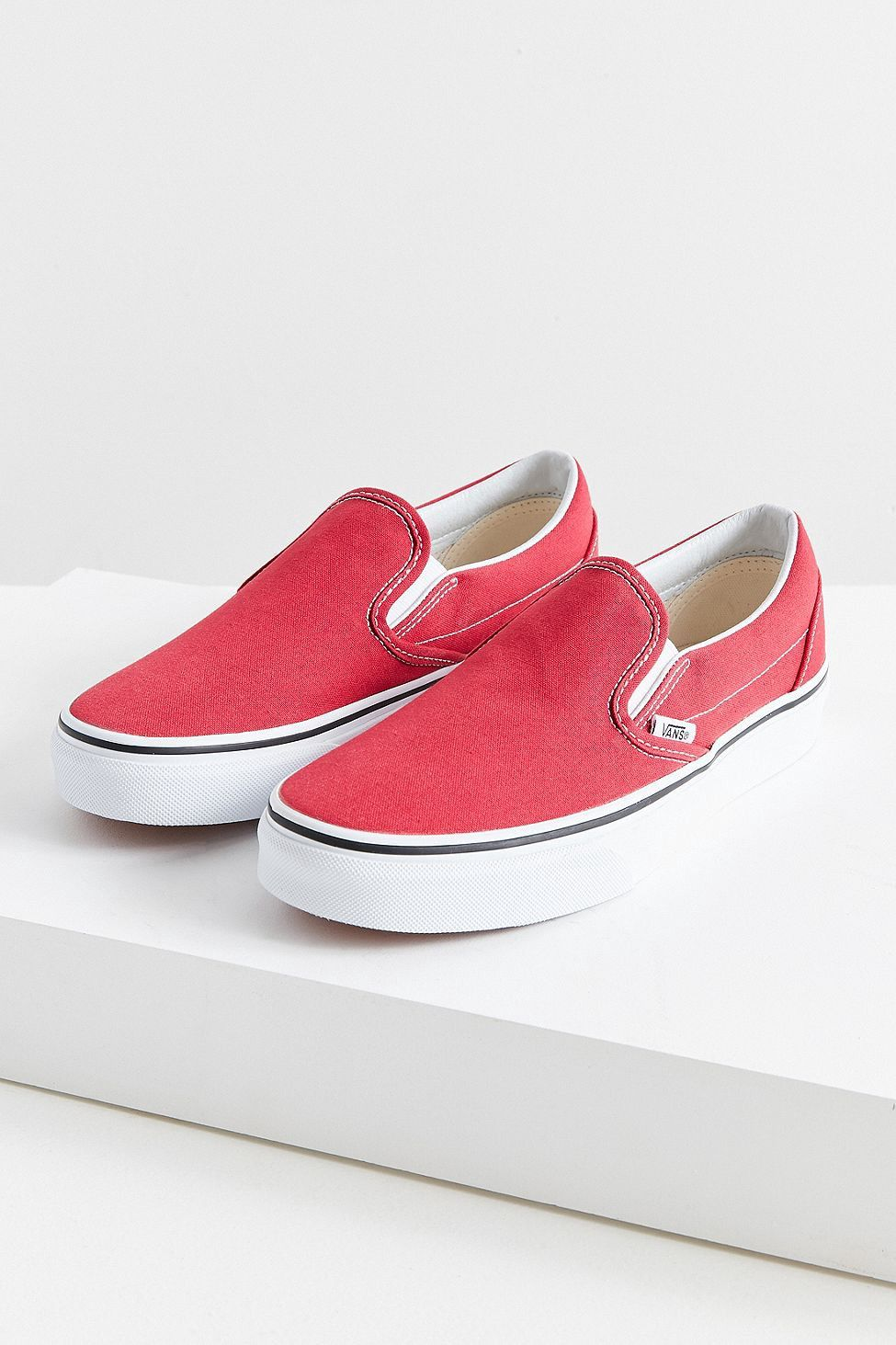 7cd22aa2fd9048 Urban Outfitters Vans Classic Canvas Slip-On Sneaker - Crimson W 8 M 6.5