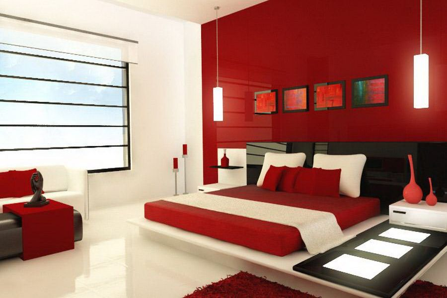 Bedrooms Colors Ideas interest wall colors for bedrooms : bedroom colors ideas red color