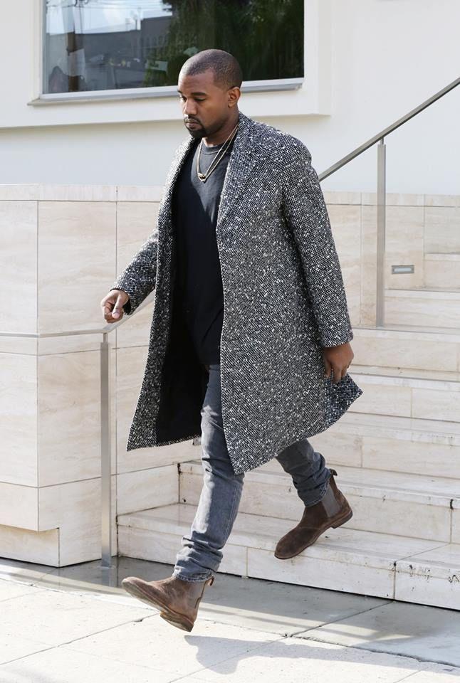 Kanye West's LA Saint Laurent Black and White Wool Blend Raglan Sleeve Coat and Bottega Veneta Chelsea Boots