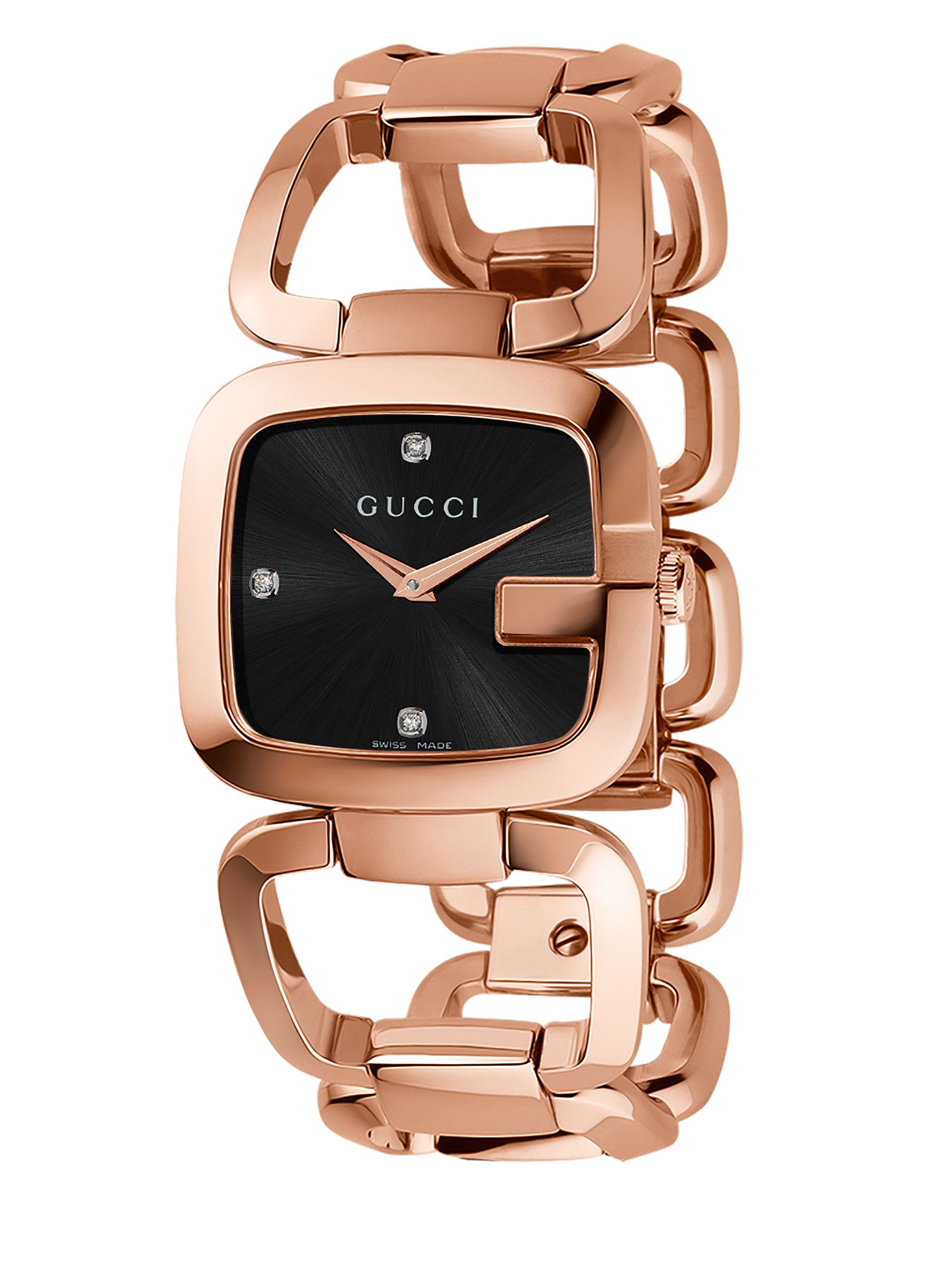 a2f08b8fbcd Gucci G- Pink Goldtone Pvd Stainless Steel Open-link Bracelet Watch ...