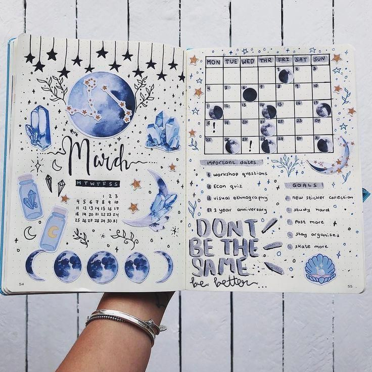12 Galaxy and Space Themed Bullet Journal Spread - TheFab20s