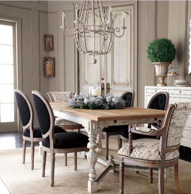 Love The Idea Of Having 2 Different Accent Chairs Pretty Dining Room French Dining Furniture French Dining Tables