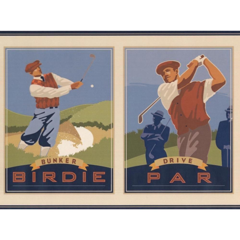 """York Wallcoverings """"Vintage Golf Pictures Eagle Birdie Par"""