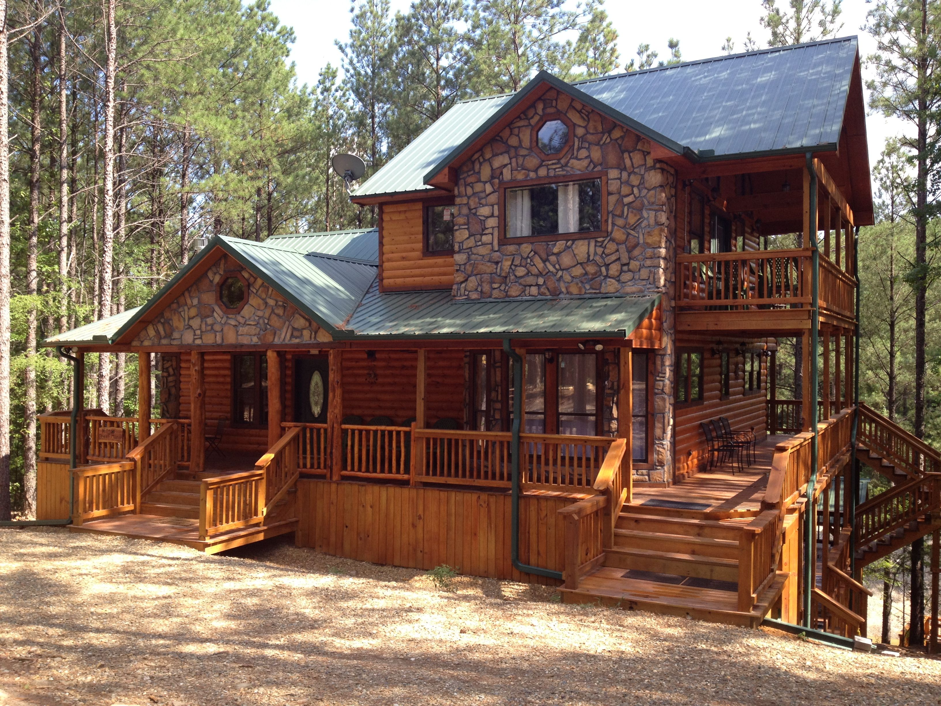 Luxury log cabins broken bow adventures oklahoma luxury for Lakefront cottage designs