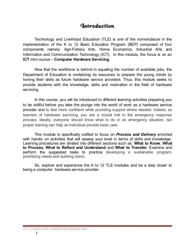 Introduction Technology And Livelihood Education Tle I One Of The Nomenclature Service Learning Computer Information Communication Essay