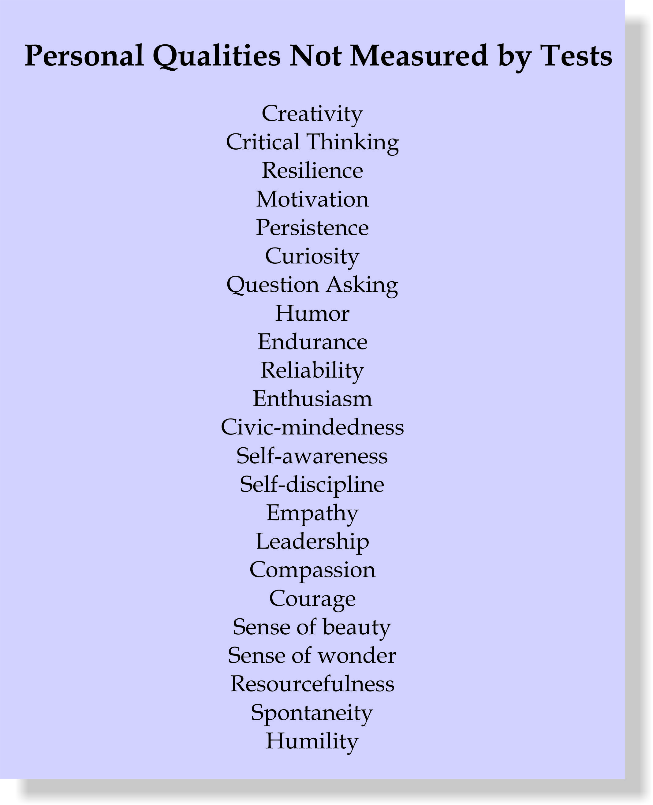 Personal Qualities Not Measured by Tests Drama