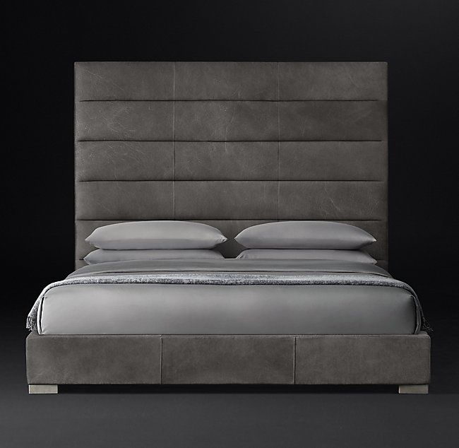 Best Modena Panel Horizontal Channel Leather Platform Bed In 400 x 300
