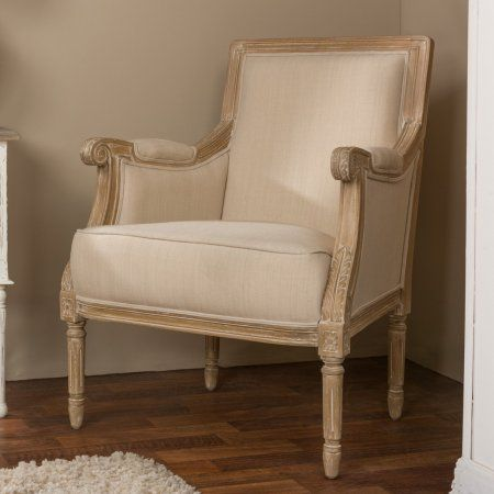 Chavanon Wood And Light Beige Linen Traditional French Accent