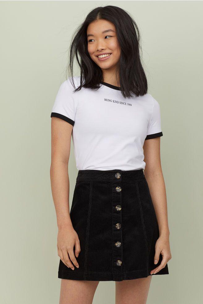Photo of A-line skirt – Black/Corduroy – Ladies | H&M GB
