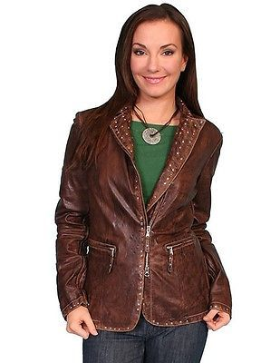 Scully Western Jacket Womens Leather Fitted Zipper L Brown L606