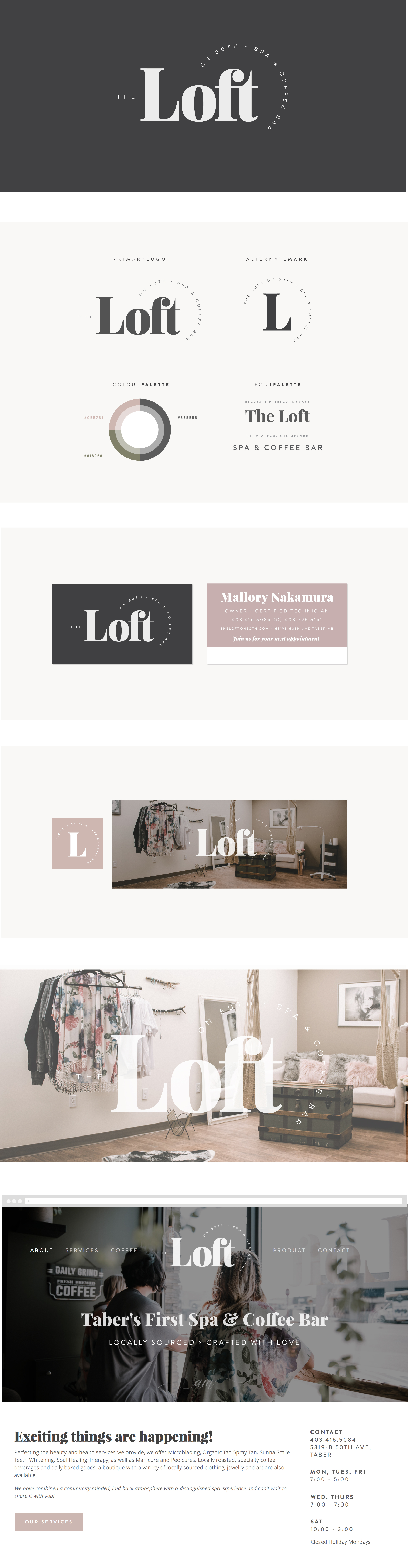 brand & web design for the loft on 50th spa & specialty coffee bar