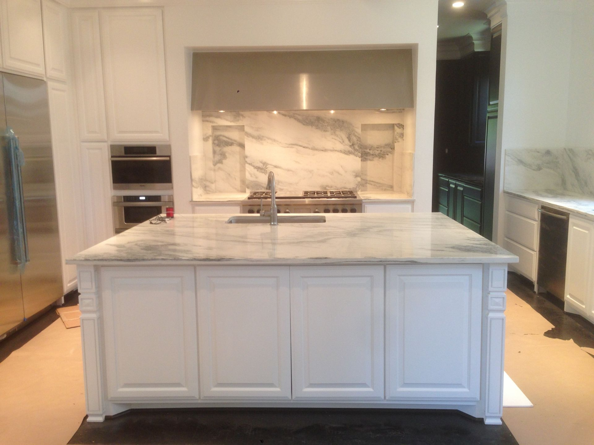 Kitchen Backsplash Height honed danby marble (arabescato-montclair or mountain white) island