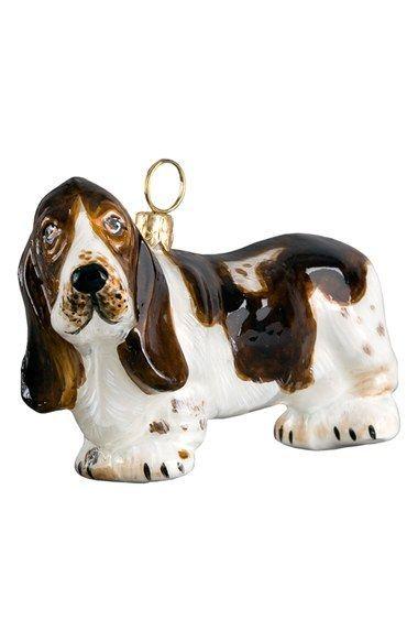 Old World Christmas Basset Hound Dog Glass Tree Ornament 12473 FREE BOX New