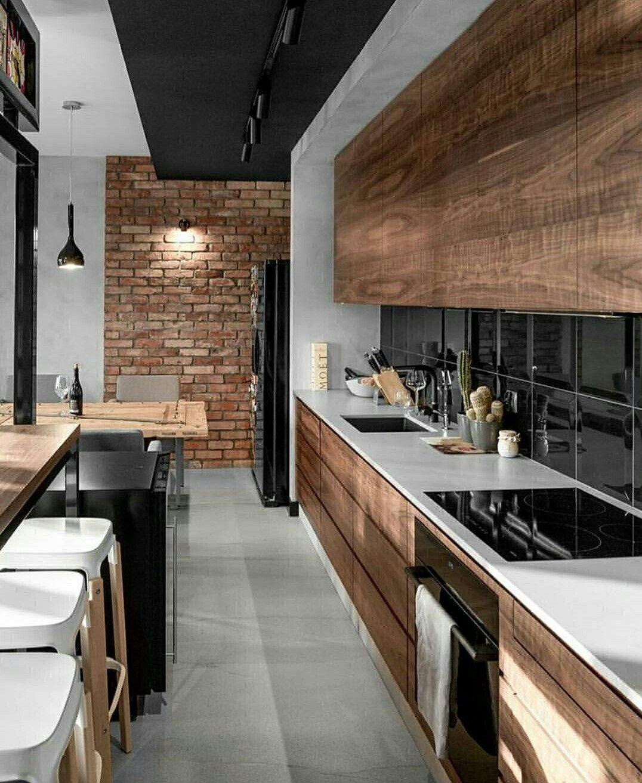 Cuisine Style Industriel Bois Veilli Brique Noir Blanc
