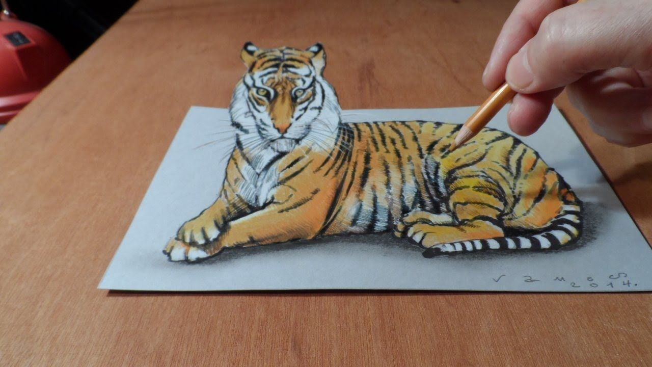 Trick Art, Watch my Draw a 3D Tiger, Time Lapse Illusion