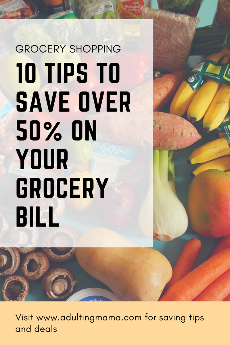 How much do you spend on groceries? Fin out how to cut your bill in half at adultingmama.com