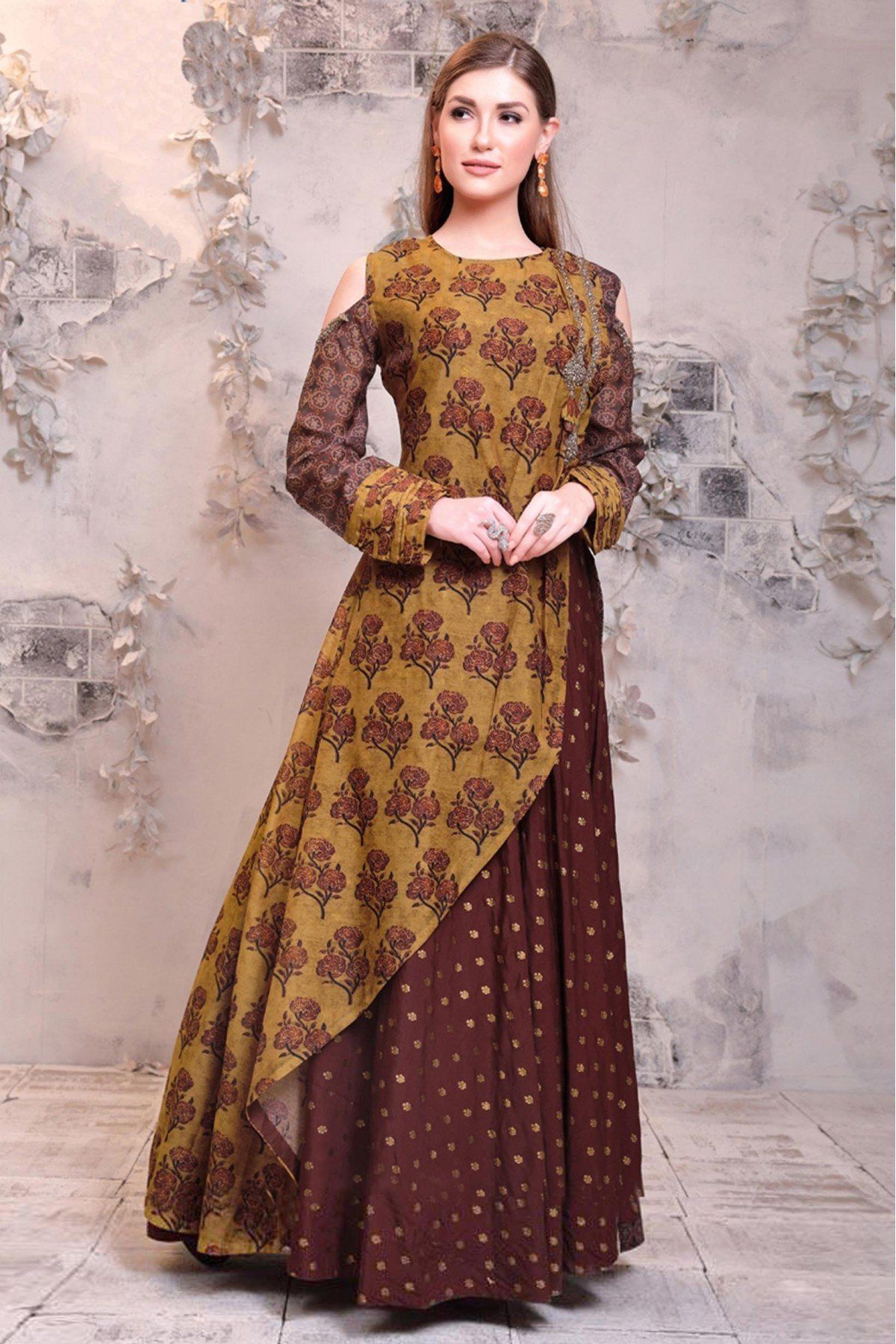 Chanderi Gown In Beige And Maroon Colour Long Kurti Designs