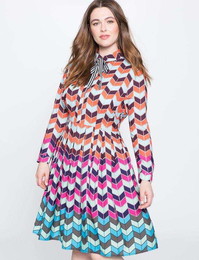 Printed Fit And Flare Dress Printing Pop Fashion And Colorblock Dress