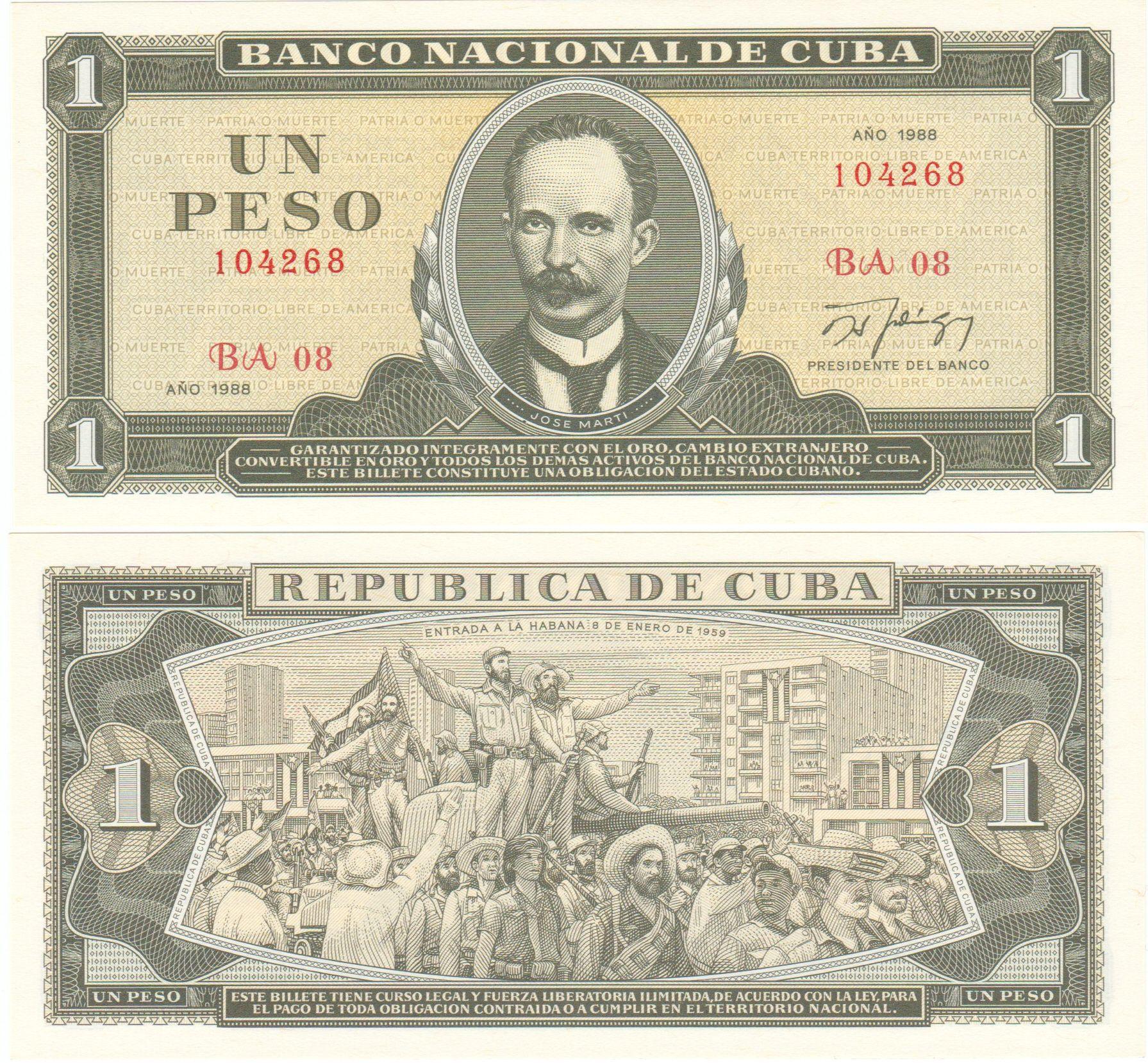 Cuba Banknote 1 Peso Jose Marti Crispy Unc