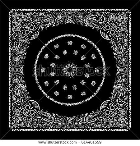 Bandanna black and white  with paisley and flowers