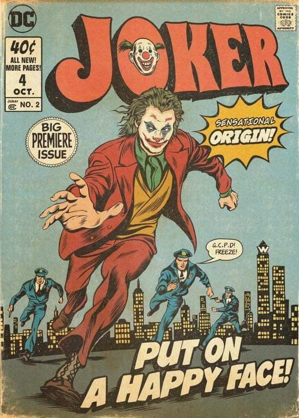 DC Universe on Film on Twitter -  #Joker goes retro in awesome comic cover-styled poster by IG artist dvglzv #fanart #JokerMovie pic. - #ComicBooks #ComicsAndCartoons #film #FunnyQuotes #Laughing #NursingMemes #SoFunny #twitter #universe