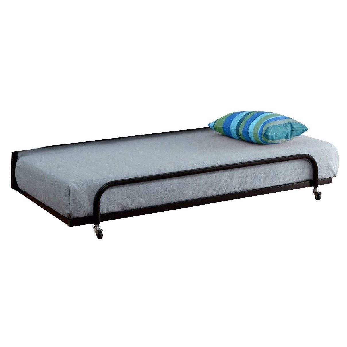 Twin Roll Out Trundle Bed Frame In Black Metal Trundle Bed Frame