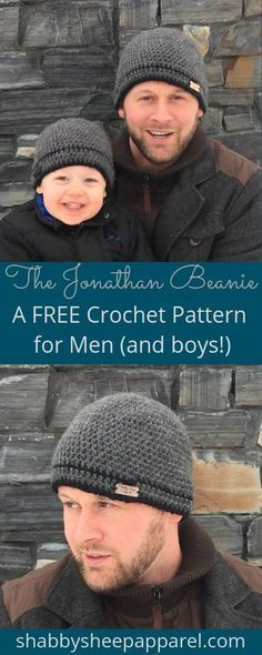 Free Crochet Pattern. Men's Beanie in three sizes; child, small and large adult! #beaniehats