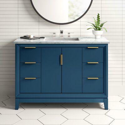 "evita 48"" single bathroom vanity set base finish: monarch"