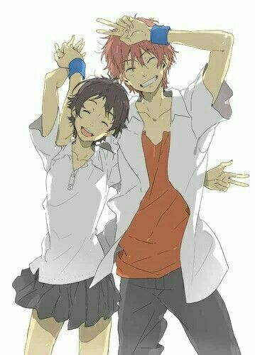 Chiaki Makoto Smiling Peace Signs Couple The Girl Who Leapt