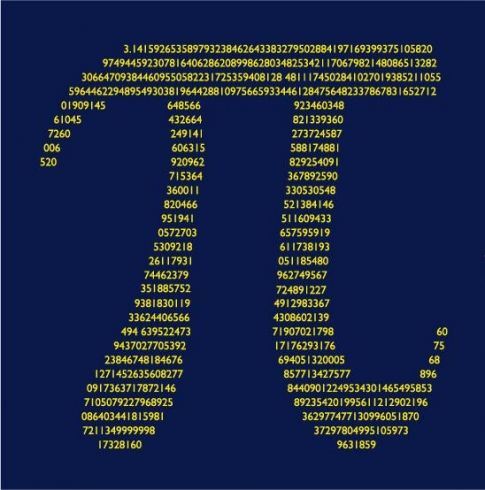 pi t-shirt with digits of pi contained in the Greek letter pi