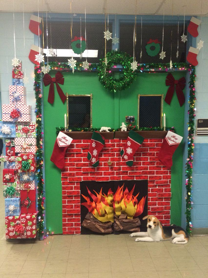 Christmas Classroom Door Decoration Fireplace Christmas