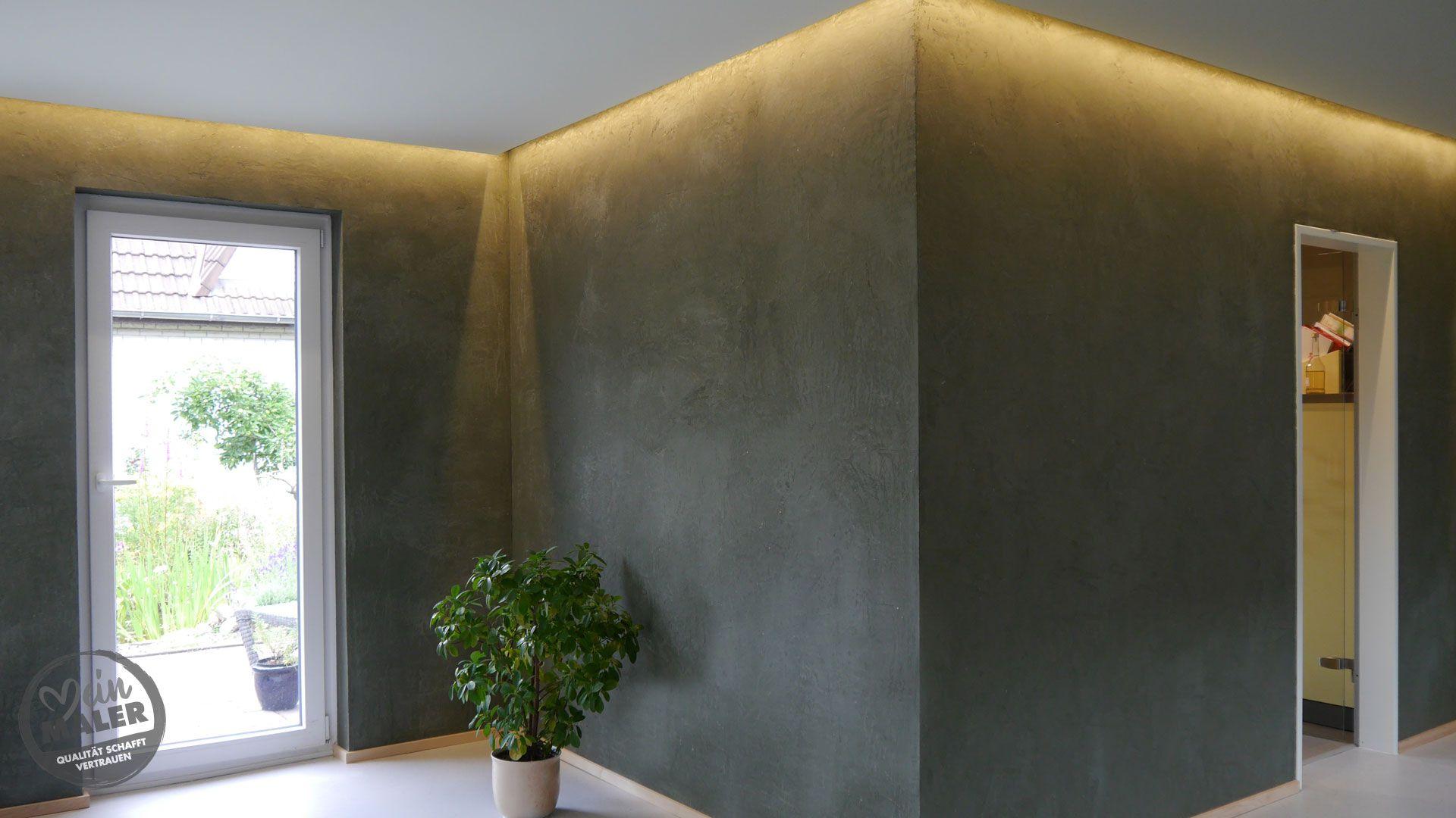 Wohnzimmergestaltung Mit Dunklem Volimea Kalkputz In