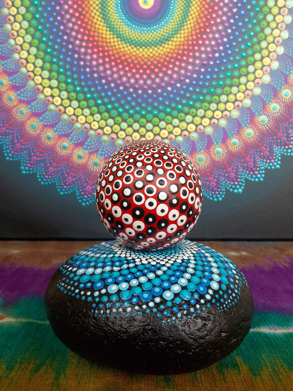 Mandala Globe, Black and White on Red, Sacred Geometry, Art by Kaila Lance, Meditation Stone, Dot Painting, Wood Globe by KailasCanvas on Etsy